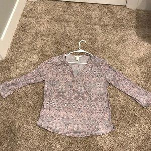 Pink floral H&M 3/4 shirt